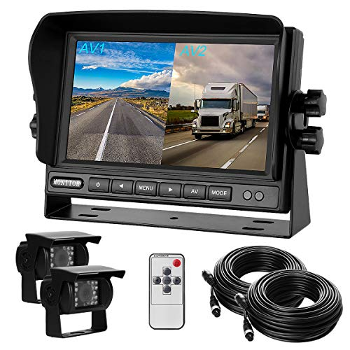 Dual Backup Cameras and Monitor Kit Split Screen 7' LCD Reversing Monitor,2 Rear View Camera for Trucks/RV/Bus/Trailer/Van/Campers with 170° Wide Angle, IP68 Waterproof,18IR Night Vision