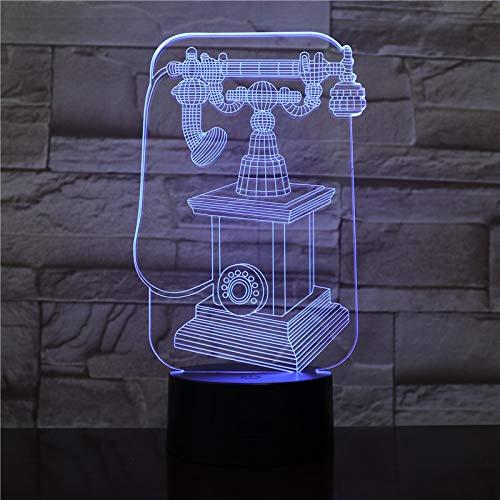 Nur 1 Stück Vintage Telefon 3D Lampe betrieben Halloween Preis für Säugling USB LED Nachtlichtlampe Hologramm Mehrfarbig mit Fernbedienung