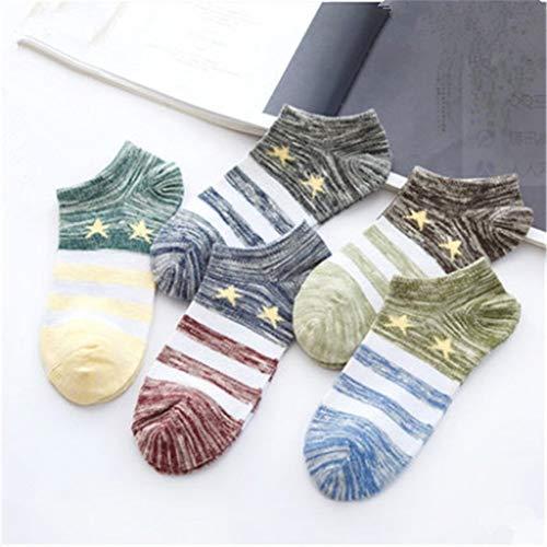 NLJYSH Socken Herrensocken/Socken der Frauen Socken Socken bunt Stern Streifen atmungsaktiv Boot Socken gestrickt (Color : Beige)