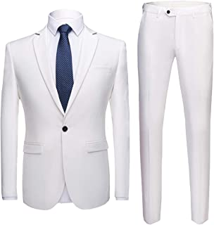 b42cdc7f Mens Suits 2 Pieces Slim Fit Wedding Tuxedo Suit Jackets One Button Single  Breasted Blazer Jacket