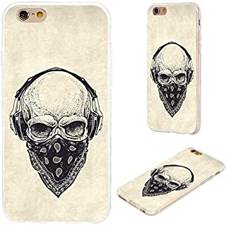 iPhone 6s Case,iPhone 6 Case,VoMotec [Cute Series] Shockproof Anti-Scratch Slim Flexible Soft TPU Protective Skin Cover Case iPhone 6 6s 4.7 inch,dotwork Skull Modern Street Style Headphone