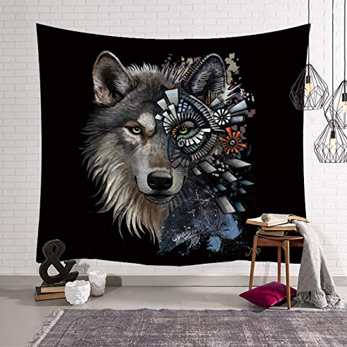 Tapiz De Pared,Indio Hippie Tapices Moderno Animal De Lobo Tuerdo Indias Trippy Bohemia Colgante De Pared Decoración De Pared Para Dormitorio Sala De Estar Toalla De Playa,39.4×29.5Inches,100×75C