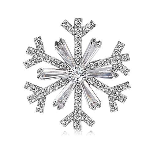 Xu Yuan Jia-Shop Broches La joyería cristalina del Copo de Nieve Elegante Broche de Cristal Broche for Mujeres Decoracion Joya