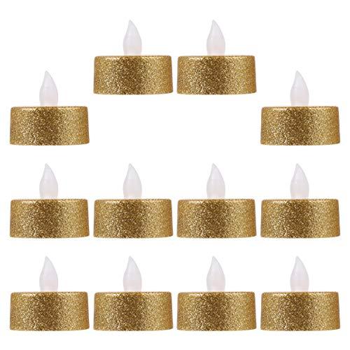 ULTECHNOVO 12pcs Halloween Glitter LED Candle Flameless Flickering Tea Light Horror Halloween Decorative Electric Candles Lights Party Supplies