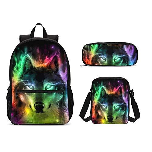 Set di 3 zainetti colorati con lupo di fuoco da 17 pollici + borsa a tracolla astuccio per ragazzi ragazze 1-6 ° grado bambini torna a scuola