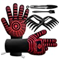 """LUHUIYUAN BBQ Gloves 1472°F Extreme Heat Resistant, 4 in 1 Grill Accessories with EN420/407 Certified Oven Mitts, 9"""" Grilling Tong, Grill Brush & BBQ Bear Claws for Men, Grill, Baking, Cooking,Welding"""