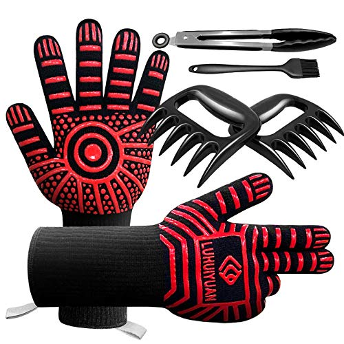 LUHUIYUAN BBQ Gloves 1472°F Extreme Heat Resistant, 4 in 1 Grill Accessories with EN420/407 Certified Oven Mitts, 9' Grilling Tong, Grill Brush & BBQ Bear Claws for Men, Grill, Baking, Cooking,Welding