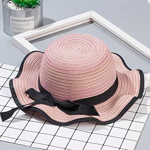 geiqianjiumai Zwarte riem boog kinderen stro hoed nieuwe zonnebrandcrème zonnekap hoed ouder-kind pet MZ7709