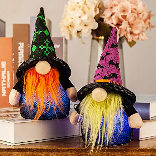 S-DEAL Halloween Gnomes Plush Witch Light, Tomte Nordic Figurine Swedish Holiday Party Decorations, 9 Inches Tall 2 Pcs