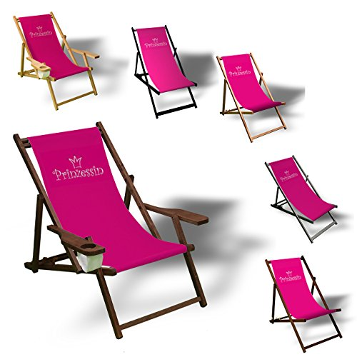 Printalio - Prinzessin - Liegestuhl Bedruckt Balkon Garten Sonnenliege Relax Holz Terrasse | mit Armlehne, Dunkelbraun