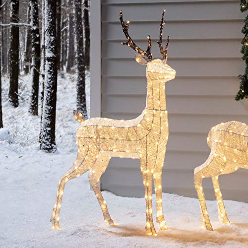 Lights4fun - Reno Luminoso Navidad de Hilo Blanco con LED Bl