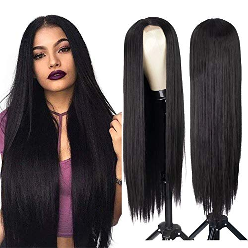 AISI HAIR Long Straight Hair Black Wig Women's Natural Straight Hair Product Wig Middle Part Synthetic Long Black Wigs (1B#)