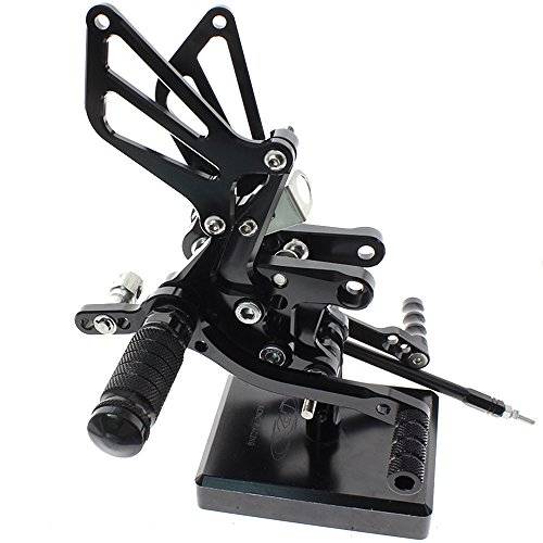 Qiilu CNC Motorcycle Rear Passenger Footrests Rear Set Footpegs Universal Non-Slip Foot Rest Pegs Pedals M8 Install Bolts