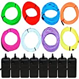 JYtrend 15ft Neon Light El Wire with Battery Pack (8 Pack - Blue, Green, Red, White, Orange, Purple, Pink, Yellow)