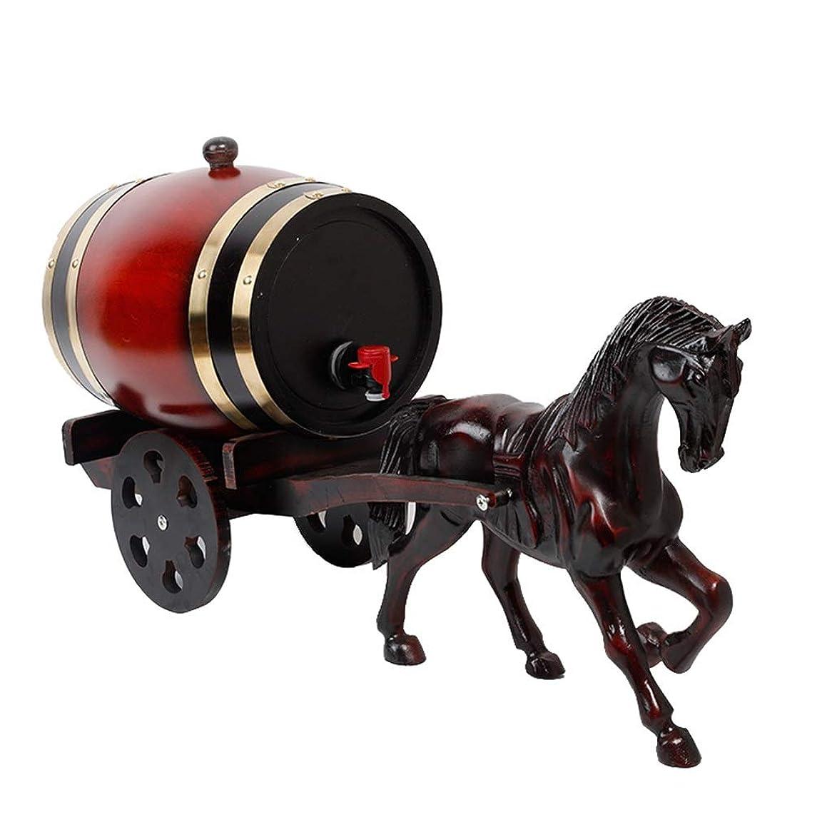 効率的に東部居住者ワイン樽 5 Lオーク樽、ワインジュースやその他の飲み物を保存するためのパーソナライズされた馬車モデルホーム木製装飾結婚式の装飾用品 ウイスキー樽 (Color : Deep red, Size : 5L)