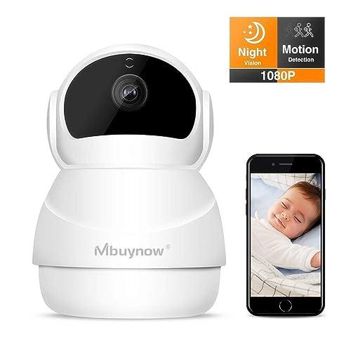 Caméra de Surveillance sans Fil 1080p,Mbuynow Caméra de Surveillance Dômes WiFi Caméra IP WiFi Maison Sécurité Nocturne, Alarme de Mouvement,2 Voies Audio pour App iOS / Android / PC