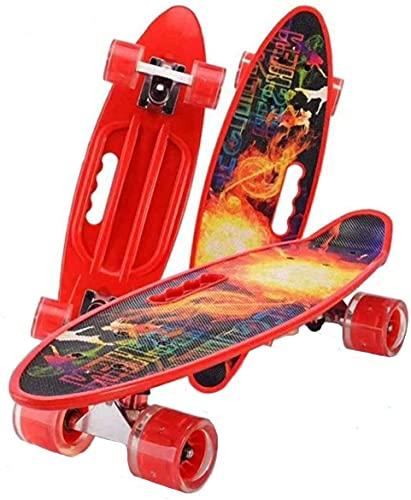 Tragbare Skateboard Komplette Mini-Kreuzfahrt, Skateboards für Kinder, mit Blinkenden LED-Rädern, Leicht Zu Tragen und Kann in Einem Rucksack