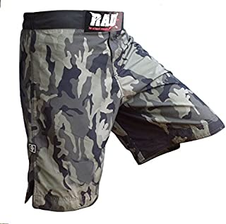 RAD MMA Fight Shorts Grappling Short Kick Boxing Cage Fighting Shorts White and Green Camo