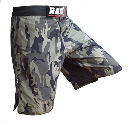 RAD MMA Fight Shorts Grappling Short Kick Boxing Cage Fighting Shorts White and Green Camo (4X-Large, Green Camo)
