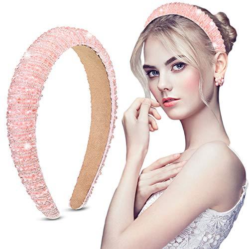 Crystal Rhinestone Diamond Headband Baroque Padded Headband Wide Glitter Crystal Beaded Hairband for Women Girls Hair Accessories (Pink)