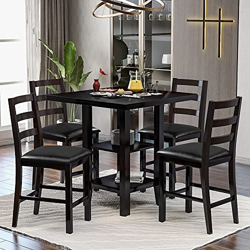 Amazon Com 5 Piece Dining Table Set Wood Counter Height Dining Set Square Kitchen Table With 2 Tier Storage Shelf And 4 Faux Leather Padded Chairs Espresso Table Chair Sets
