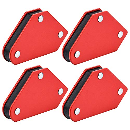 SANTOO 4 Piezas Imán de soldadura, Soportes de soldadura magnética Accesorios de soldadura Ángulo de soldadura magnética, 45 ° 90 ° 135 °, fuerza de retención de 5 kg
