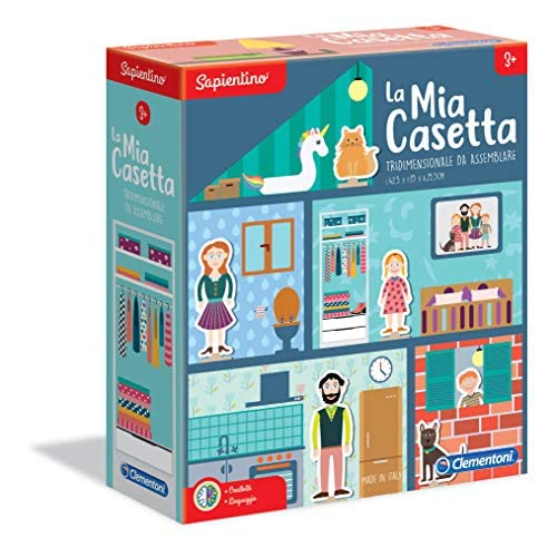 Clementoni - 16128 - Sapientino - La mia casetta, gioco educativo 3 anni con tessere illustrate - casetta bambini in cartone - Made in Italy