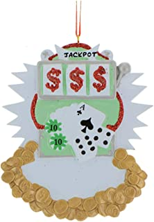 Personalized Gambling Christmas Tree Ornament 2019 - Slot Machine Money Coins Poker Player Chip Cards Friend Family Las Vegas Memory Holiday Hobby Prize Jackpot Winner Year Gift - Free Customization