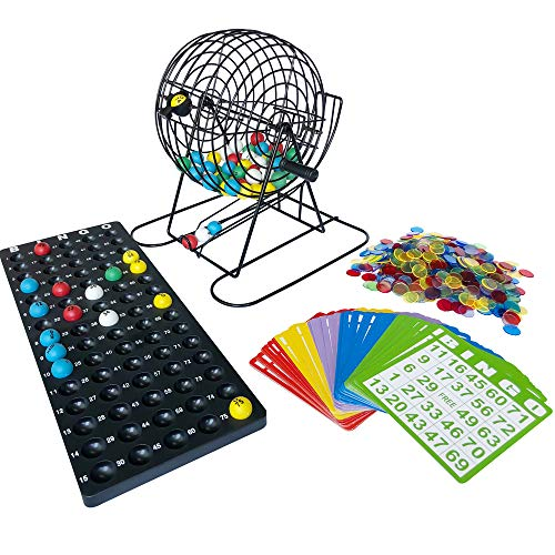 Yuanhe Complete Jumbo Bingo Game Set-9 Inch Metal Cage with Calling Board, 75 Colored Balls, 500 Colorful Bingo Chips,100 5 Color Mix Bingo Cards for Large Group Games