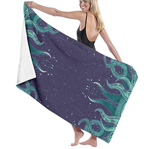 asdew987 Toallas de playa para mujeres y hombres Octopus Tentáculo Diseño Toallas de baño de secado rápido Multiusos Travel Pool Manta grande 86 x 158 cm