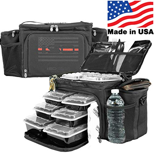Meal Prep Insulated Lunch Bag - Isobag 6 Meal Thin Red Line - 4 Fully Insulated Compartment Meal Management System - Includes 12 Reusable BPA-Free Iso Containers, 3 Ice Packs & Padded Shoulder Strap