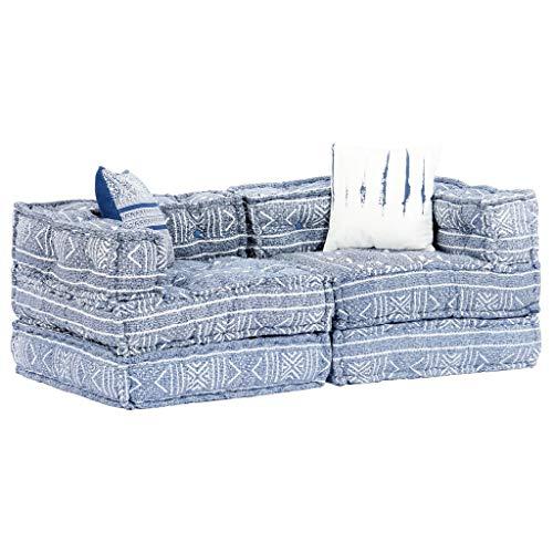 vidaXL Divano Letto Modulare a 2 Posti Arredo Morbido Imbottito Confortevole Sofa Componibile Poltrona Agrippina Indaco in Tessuto Patchwork