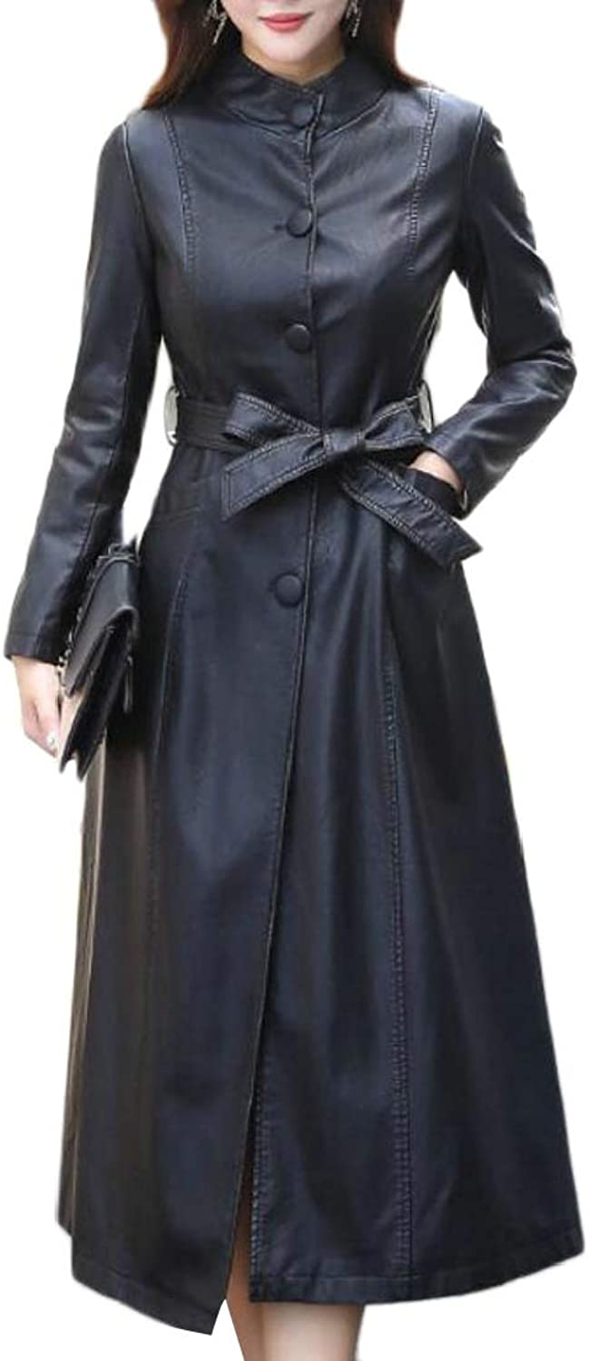 Generic Women's Maxi Long BigTall Slim Fit PU Stand color Jacket Trench Coat