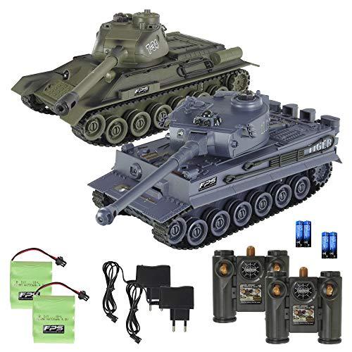 2er Set RC Panzer WW2 – Tiger vs. T-34 - Infrarot Kampfsystem mit 4 Trefferpunkten, 330° beweglicher Geschützturm, Voll beweglich, Gummi-Ketten, 36 cm, 2x 2.4G Fernbedienung, 2x 4,8V 700mAh Akku, RTR