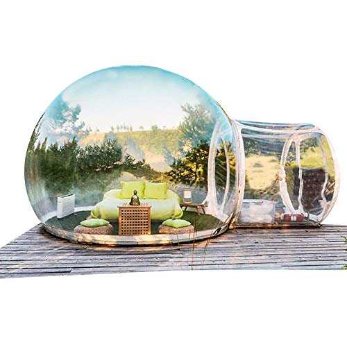 CNCEST Inflatable Bubble House, Waterproof Luxurious Transparent Outdoor Dome Single Tunnel Inflatable Bubble Tent with Blower for Camping, Music Festival, Stargazing (Transparent)