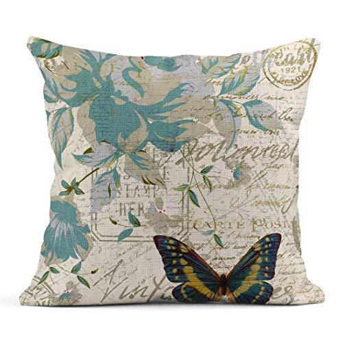 Funda de Cojine Tarolo Lino Throw Pillow Cover Case Carte Postal Floral Animals Fundas de almohada decorativas Throw Cojín 45 X 45 CM