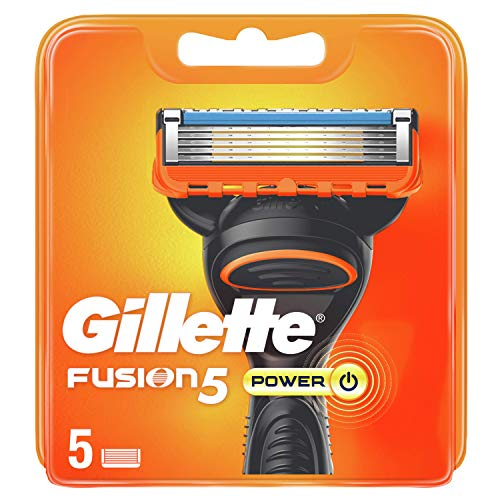 Gillette Fusion 5 Power Cuchillas de Afeitar Hombre, Paquete de 5 Cuchillas de Recambio