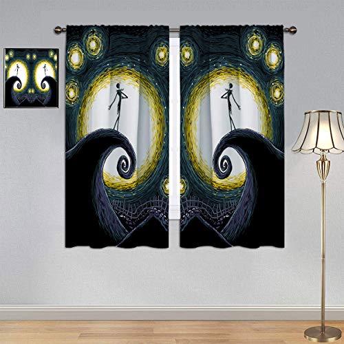 ARYAGO Cortina decorativa de Vincent Van Gogh Starry Night Cortinas, La pesadilla antes de Navidad Jack Cortina de ventana impermeable para dormitorio de niño 150 x 100 cm