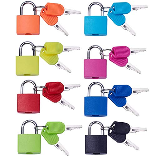 Suitcase Lock with Key, Mini Security Padlock, Multi Colors Keyed Lock for Travel Suitcases Luggage Bag Case Cabinets 8PCS
