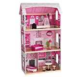 KidKraft Bonita Rose Dollhouse - Colorful Toddler Toy for 12 Inch Dolls Real Wood, Gift for Ages 3+