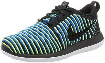 Nike Women s Roshe Two Flyknit Running Shoe  7.5 M US Black/Black-Photo Blue-Volt