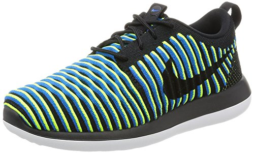 Nike Roshe Two Flyknit Women's Trail Running Sneakers, Multicoloured (Black/Blue/Yellow), 3.5 UK (36.5 EU)