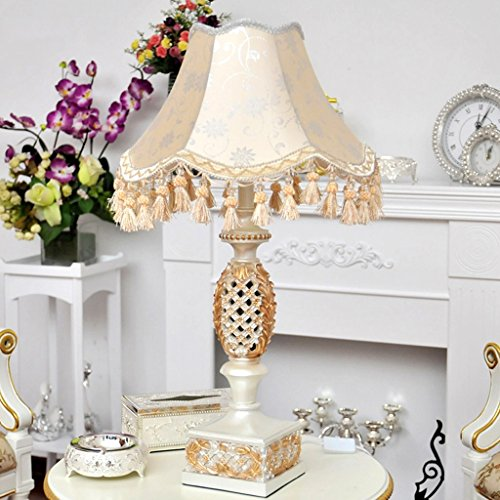 CKH Klassieke bureaulamp, hol, Europese bureaulamp, nachtkastje, verlichting, tafellamp, eiken, stof, lampenkap, knoopschakelaar