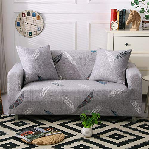 MaiuFun Pattern Sofa Slipcovers Printed Stretch Sofa Cover, 2 Pillowcases Included, 3 Seat Cushion Couch Furniture Pet Protector Anti-Slip Stylish Spandex Cover(Feather, Sofa-3 Seater)