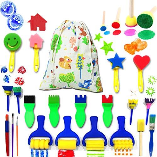 IELEK Kids Art & Craft Painting Drawing Tools Mini Flower Sponge Brush Set Fun Kits Early DIY Learning