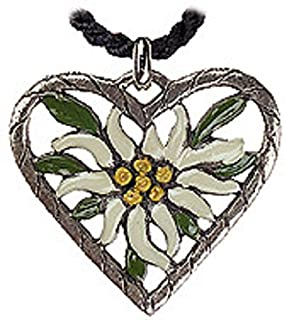 Edelweiss Flower Heart German Pewter Necklace Made in Germany