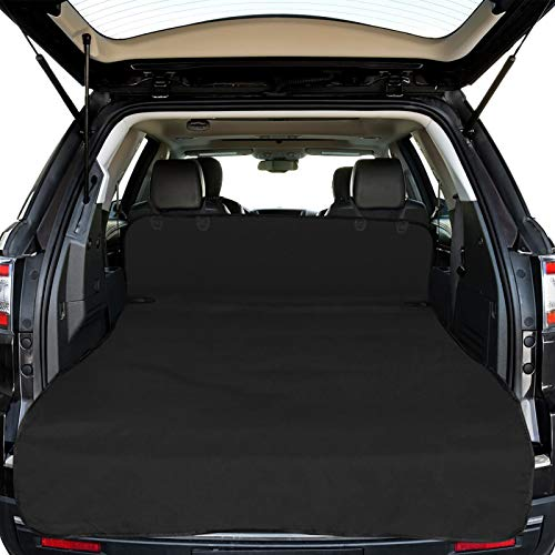 SUV Cargo Liner for Dogs, F-color Waterproof Pet Cargo Cover Dog Seat Cover Mat for SUVs Sedans Vans with Bumper Flap Protector, Large Size Universal Fit, Black