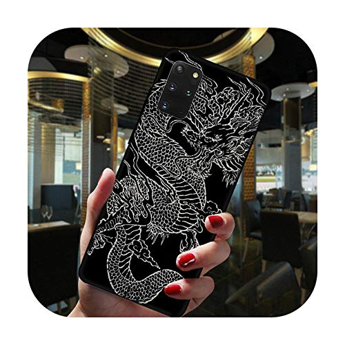 Hopereo Moda china vintage dragón negro teléfono caso para Samsung Galaxy S20 Fe Ultra S10 Lite S9 S8 Plus S7 Edge S10E silicona cubierta -Btpu-C3801-S8 Plus