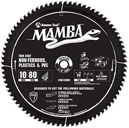 lowest Amana Tool MA10080 Carbide Tipped Thin Kerf Laminate Flooring, Non-Ferrous, Plastic discount & PVC Cutting Contractor Series Mamba 10 Inch D x discount 80T, TCG, -6 Deg, 5/8 Bore Circular Saw Blade outlet online sale