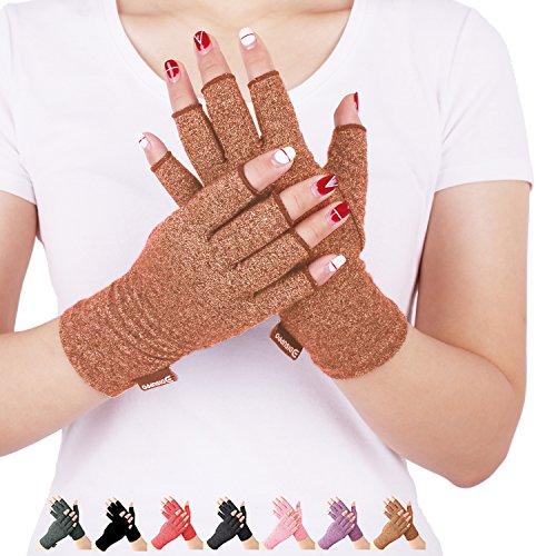 DISUPPO Guantes Compresión Anti-Artritis Hombres Mujeres Ofrecen Calor y Compresión para Ayudar a Aumentar la Circulación Reduciendo el Dolor y Promover la Sanación(Marrón, M)